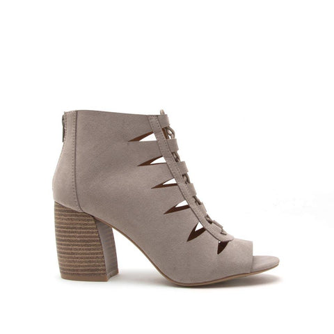 Beau-01 Grey Lace Up Cut Out Sandal