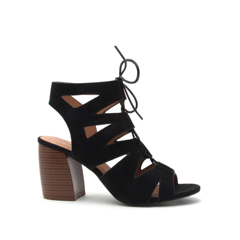 Beau-02A Black Lace Up Cage Sandal