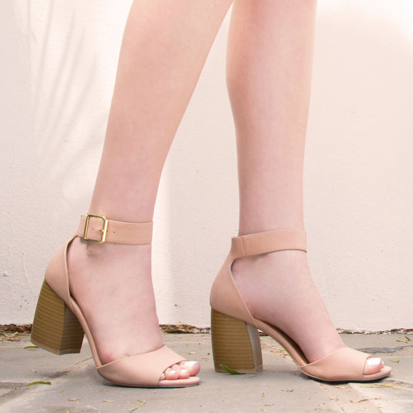 Beau-08 Blush Banded Ankle Strap Heel