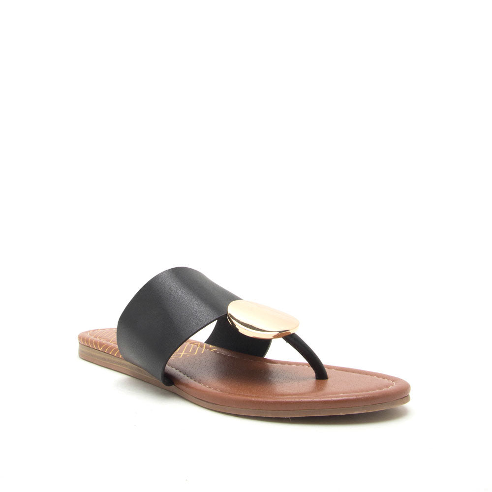 Bellini-02 Black Ornament Thong Sandals