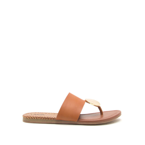 Bellini-02 Cognac Ornament Thong Sandals
