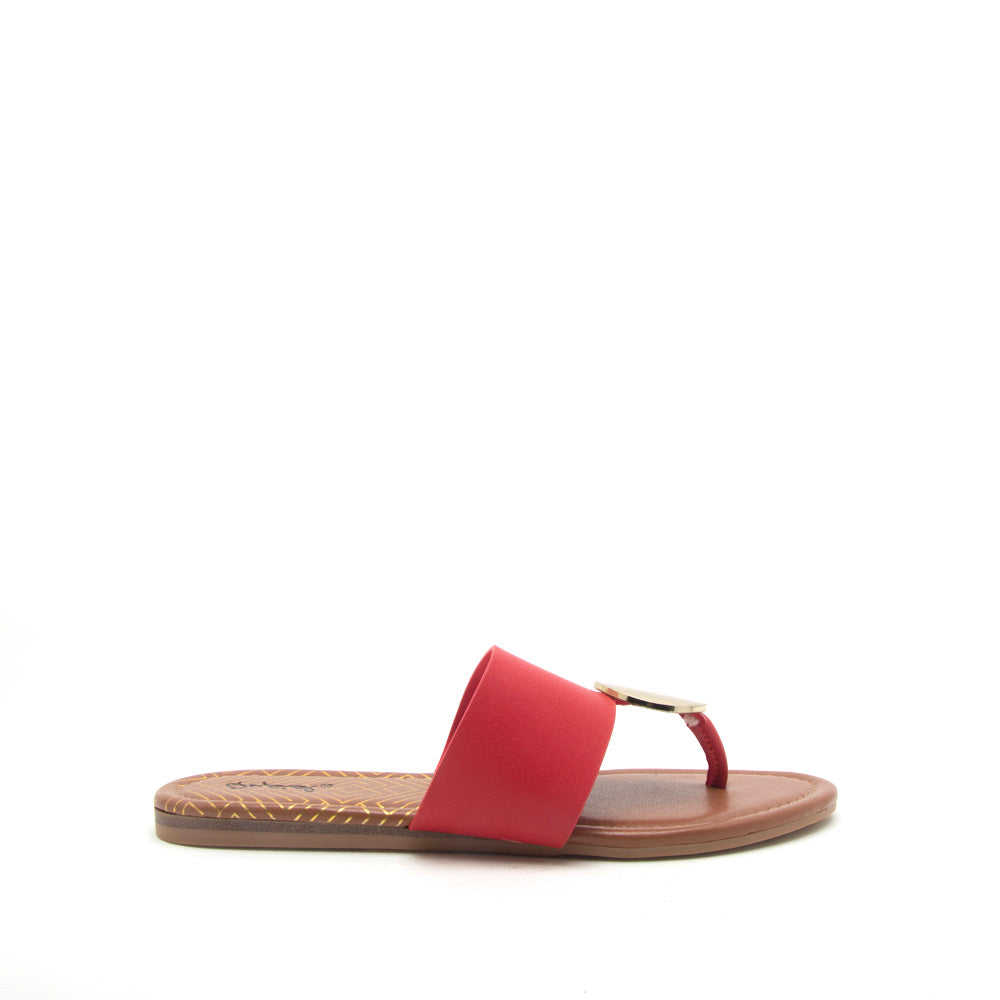 e1cc8745bf8 Qupid Women Shoes Bellini-02 Red Ornament Thong Sandals