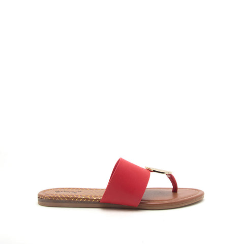 Bellini-02 Red Ornament Thong Sandals