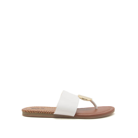 Bellini-02 White Ornament Thong Sandals