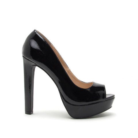 Bello-05 Black Patent Peep Toe Pump
