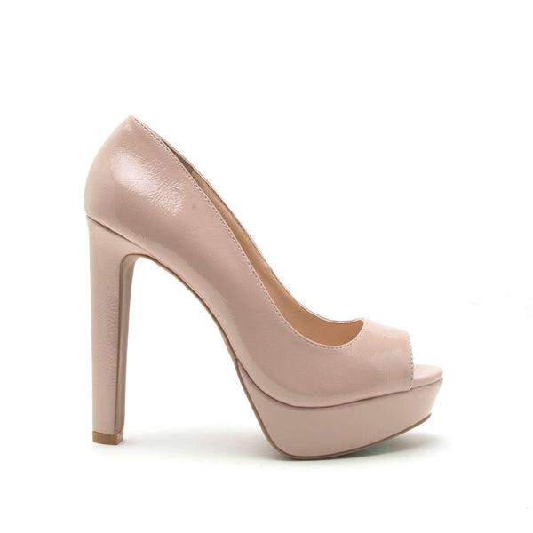 Bello-05 Nude Patent Peep Toe Pump