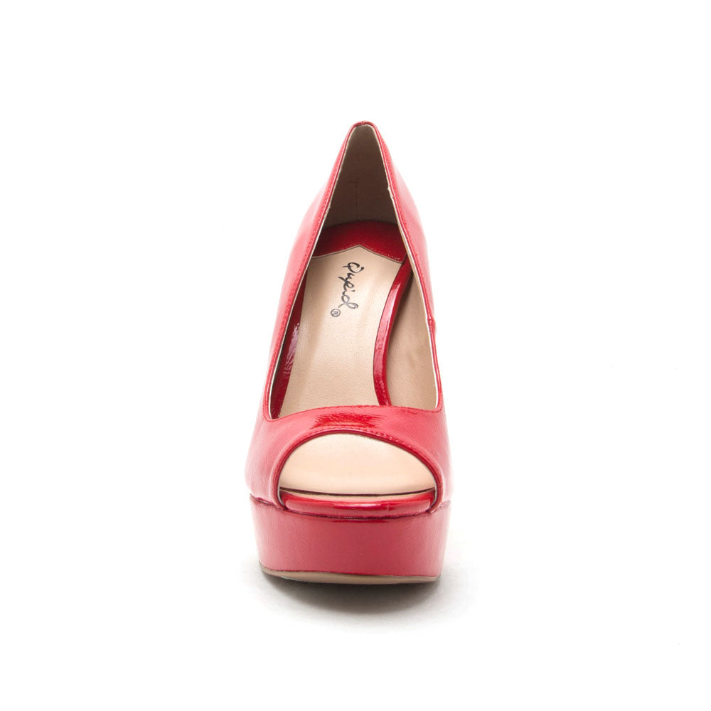 Bello-05 Red Patent Peep Toe Pump