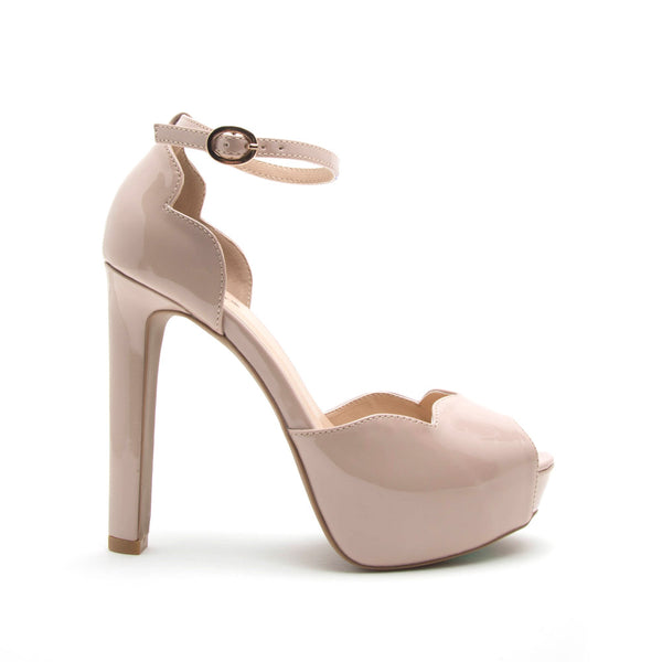 Bello-13 Nude Scalloped Ankle Strap Sandal