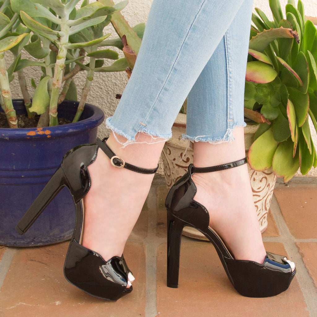 Bello-13 Black Scalloped Ankle Strap Sandal
