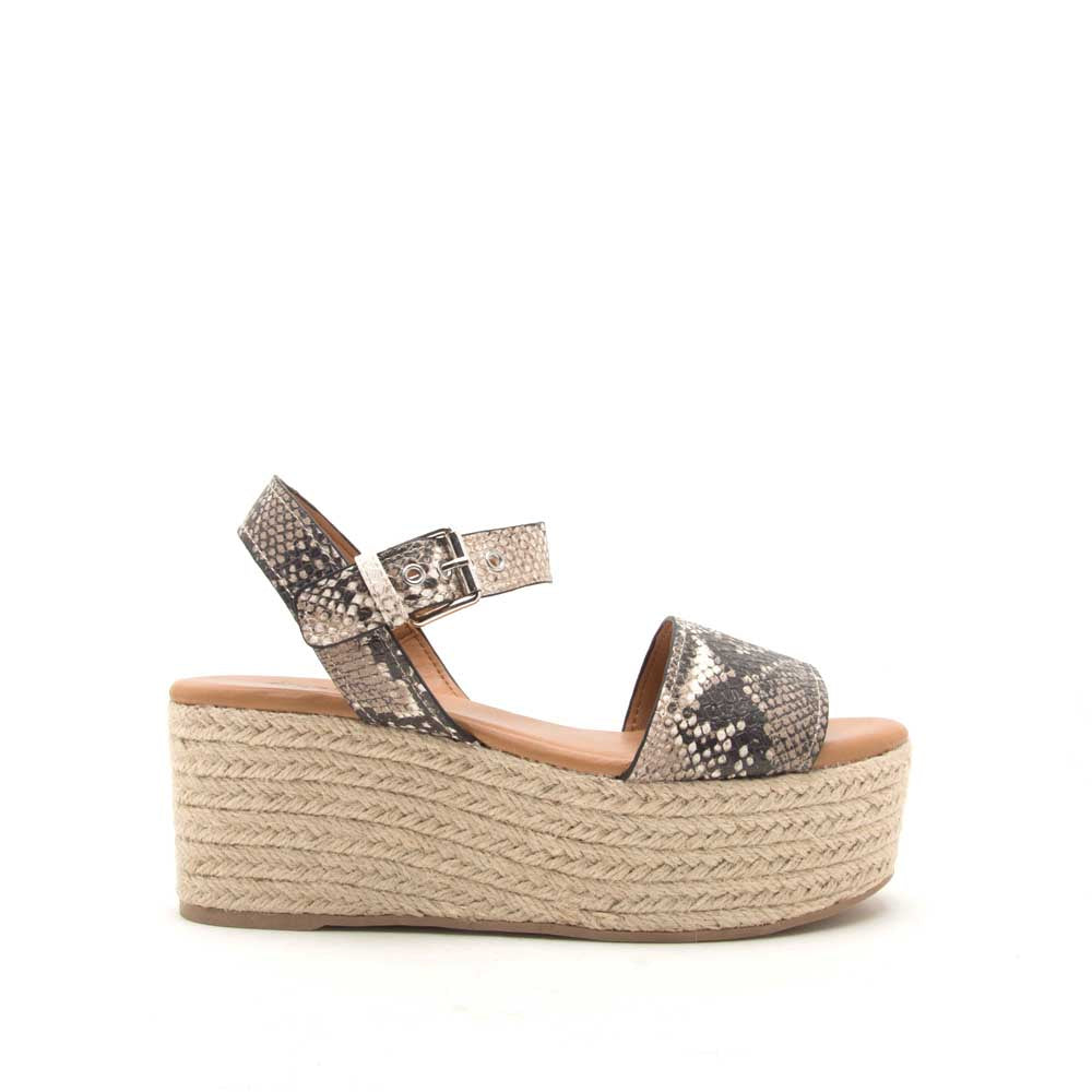 Qupid Women Shoes Bigbang-01A Beige Brown Snake One Band Ankle Strap Sandals