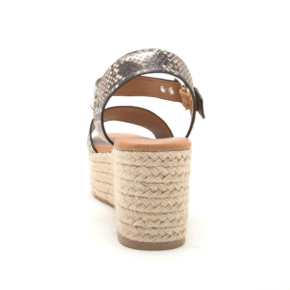 Bigbang-01A Beige Brown Snake One Band Ankle Strap Sandals