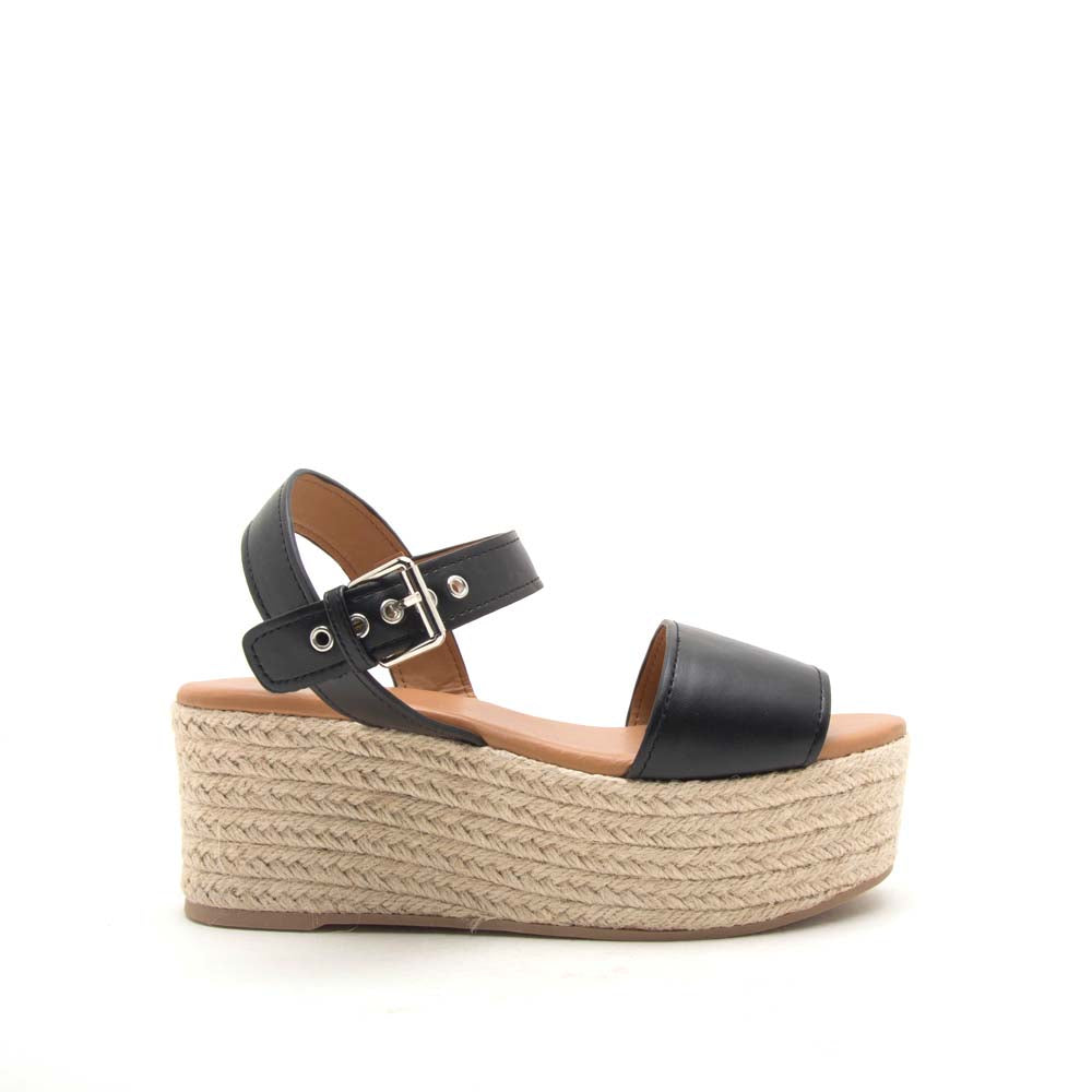 Bigbang-01A Black One Band Ankle Strap Sandals