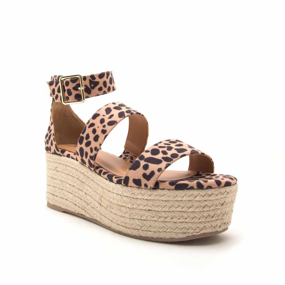 Bigbang-04AX Tan Leopard Three Band Sandals
