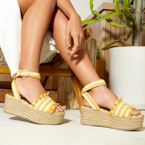 Bigbang-06A Yellow Beige Ankle Strap Wedges