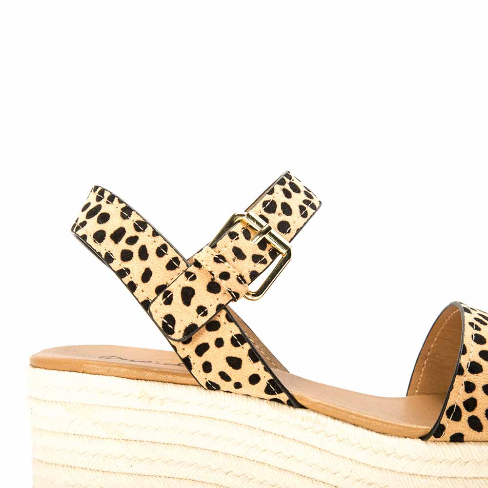 Bigbang-56 Tan Black Leopard Single Band Wedge Sandals