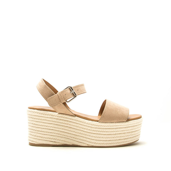 Bigbang-56 Taupe Single Band Wedge Sandals
