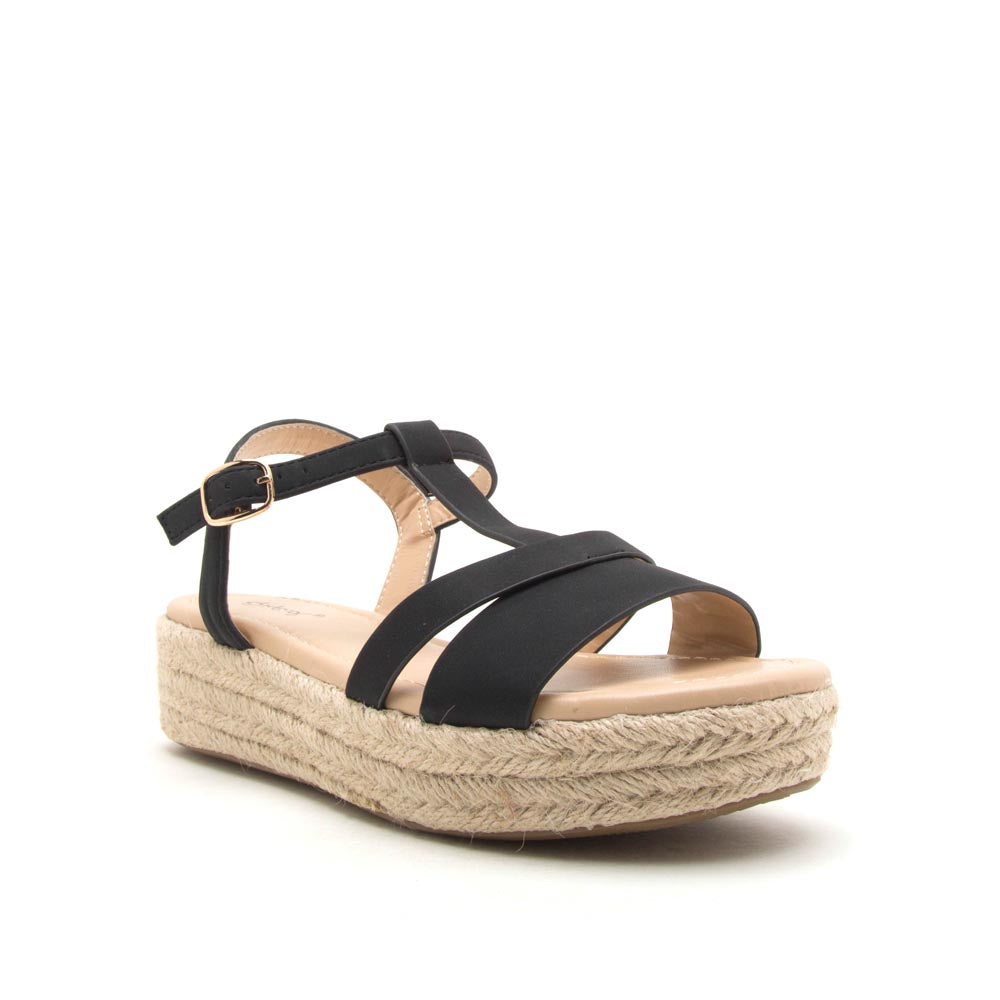 Birdy-02 Black T Strap Wedge Sandals