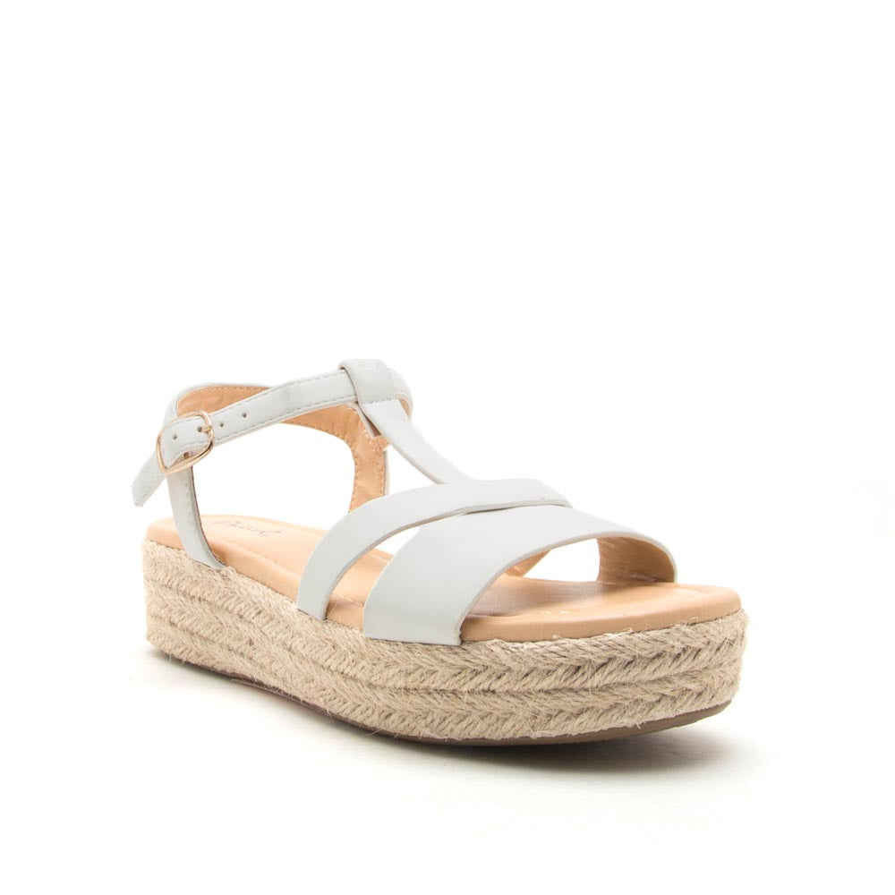 Birdy-02 White T Strap Wedge Sandals