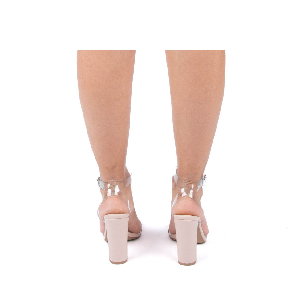 Bixby-27 Clear Ankle Strap Heels