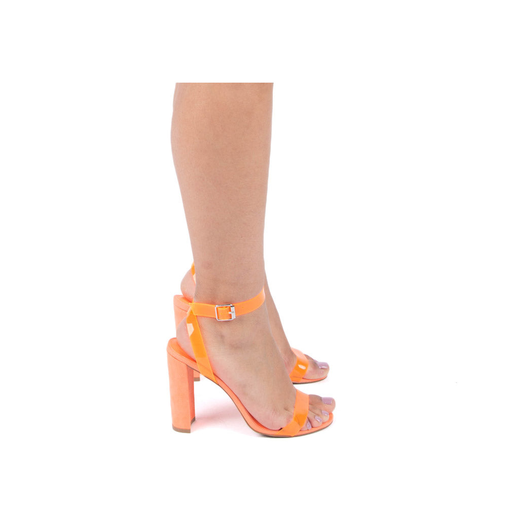 Bixby-27 Neon Orange Ankle Strap Heels