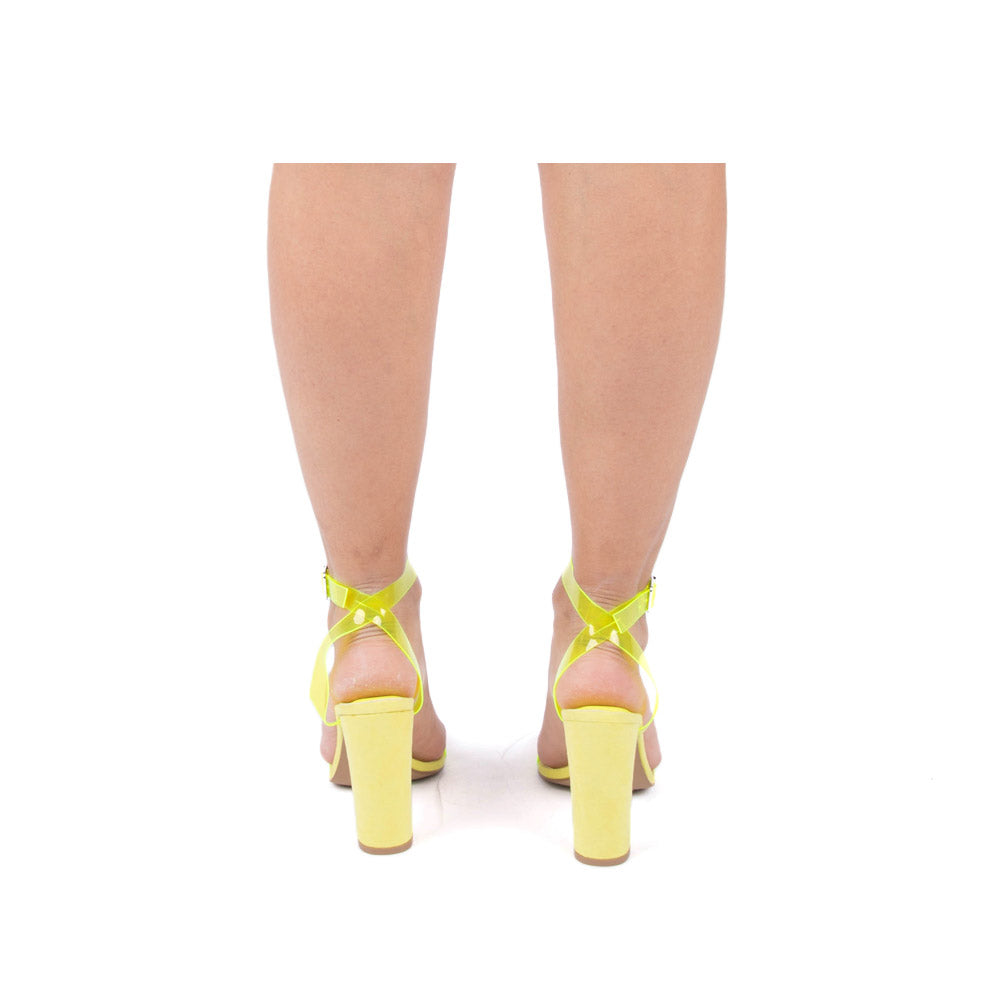 Bixby-27 Neon Yellow Ankle Strap Heels