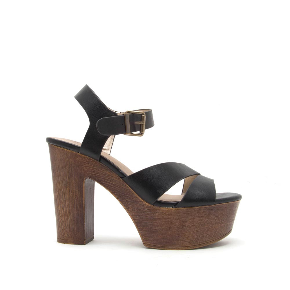 Blogger-15 Black Crinkled Strappy Sandals