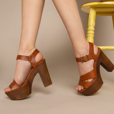 Blogger-15 Cognac Crinkled Strappy Sandals