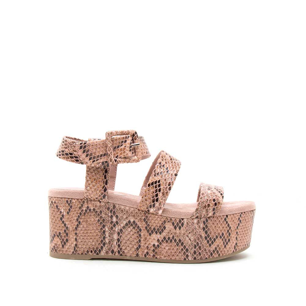 Blondie-05EX Ash Coral Brown Snake Strappy Wedge Sandals