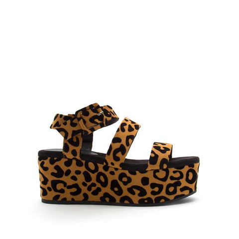 Blondie-05EX Camel Black Leopard Strappy Wedge Sandals