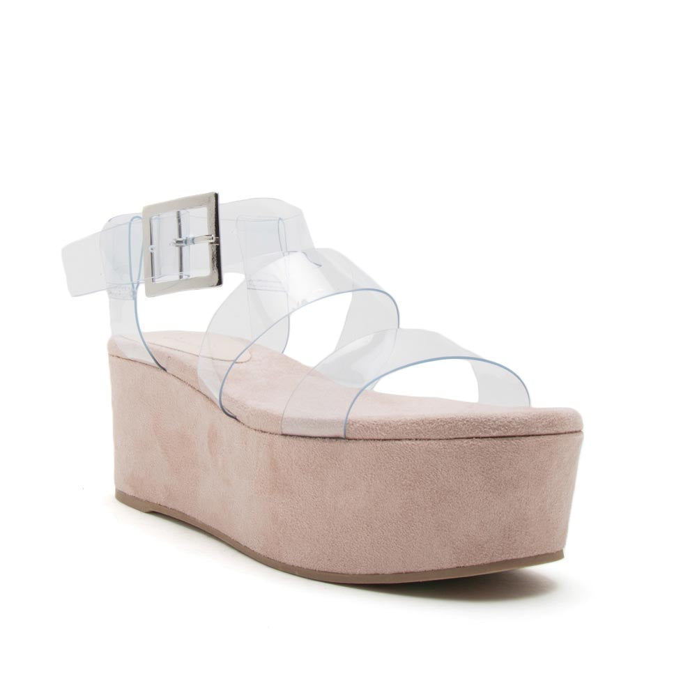 Blondie-05EX Clear Strappy Wedge Sandals