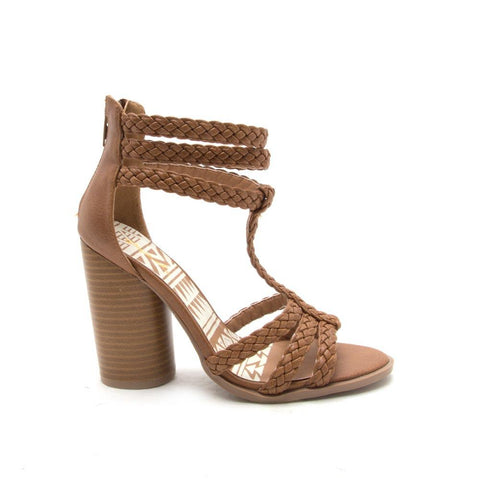 BONDI-20 Tan Strappy Braided Sandal