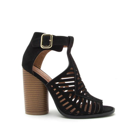 Bondi-37A Black Caged Peep Toe Bootie