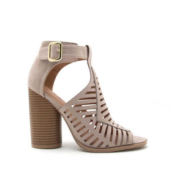 Bondi-37A Taupe Caged Peep Toe Bootie