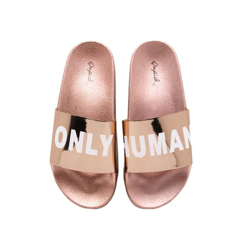 Booboo-11E Rose Gold Shiny Metallic Slides