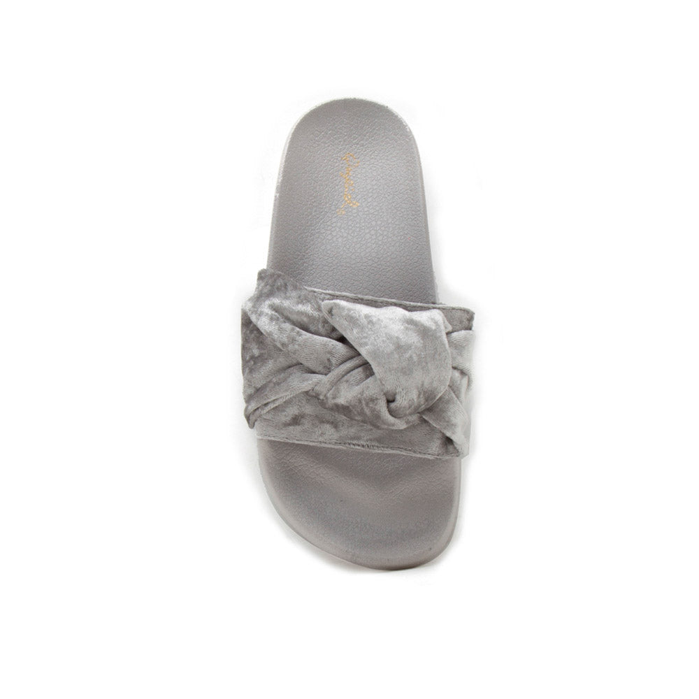 Booboo-41XX Grey Velvet Knotted Sandals