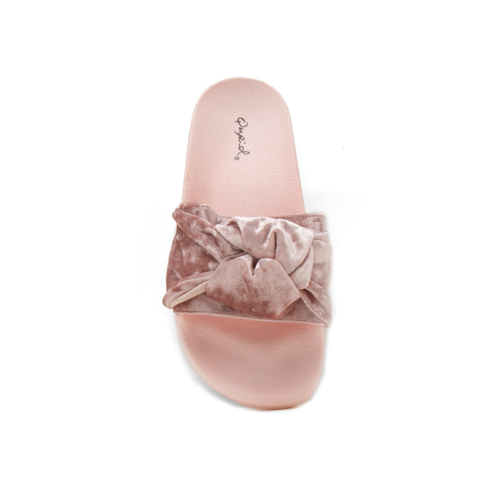 Booboo-41XX Pink Velvet Knotted Sandals