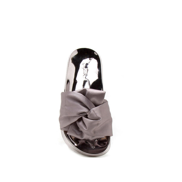 Booboo-77A Grey Knotted Satin Slide