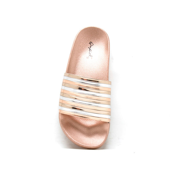 Booboo-89A Rose Gold Metallic Stripe Sandal