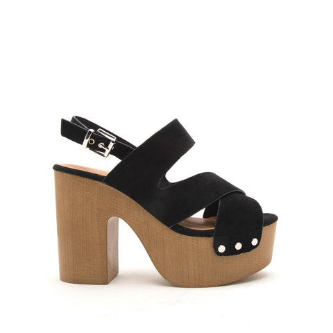 Boost-06 Black Open Toed Slingback Sandals
