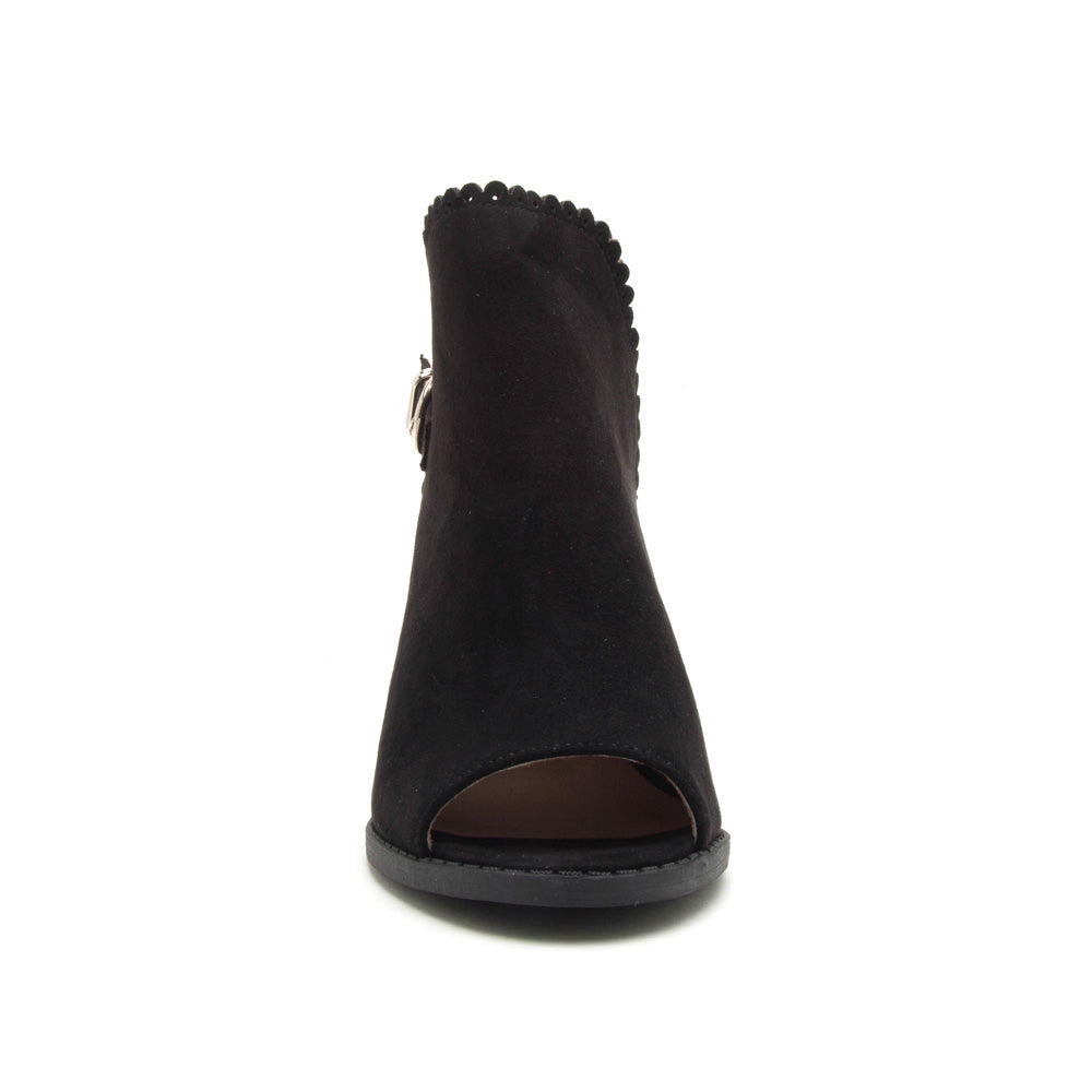 Brammer-24 Black Peep Toe Scalloped Bootie