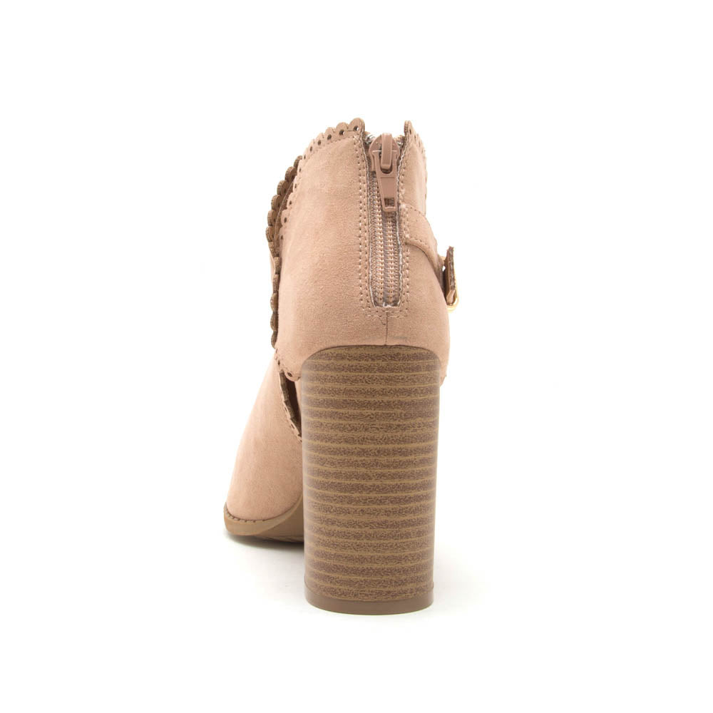 Brammer-24 Warm Taupe Peep Toe Scalloped Bootie