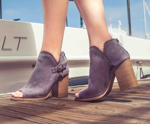 Brammer-24 Steel Grey Peep Toe Scalloped Bootie