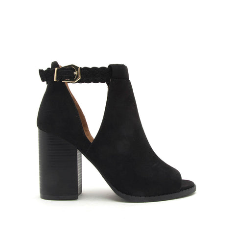 Brammer-50 Black Peep Toe Booties