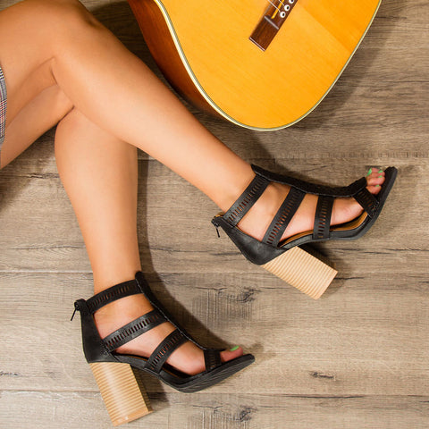 Brammer-56X Black Strappy Sandals