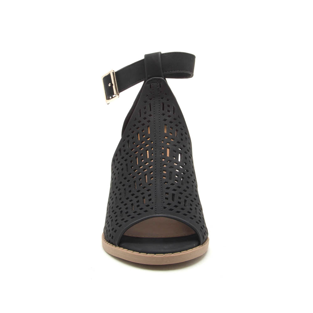Brammer-61 Black Perforated Open Toe Sandals