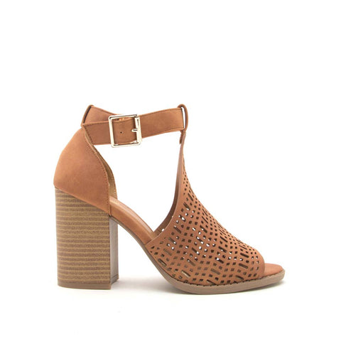 Brammer-61 Camel Perforated Open Toe Sandals