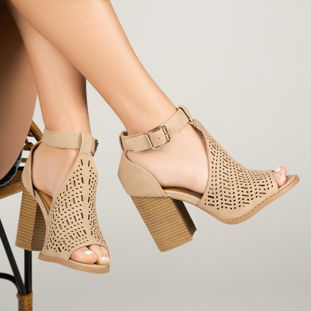 Brammer-61 Taupe Perforated Open Toe Sandals