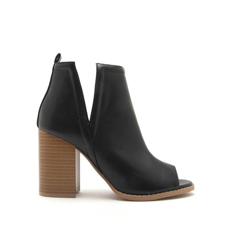 Brammer-66 Black Peep Toe Booties