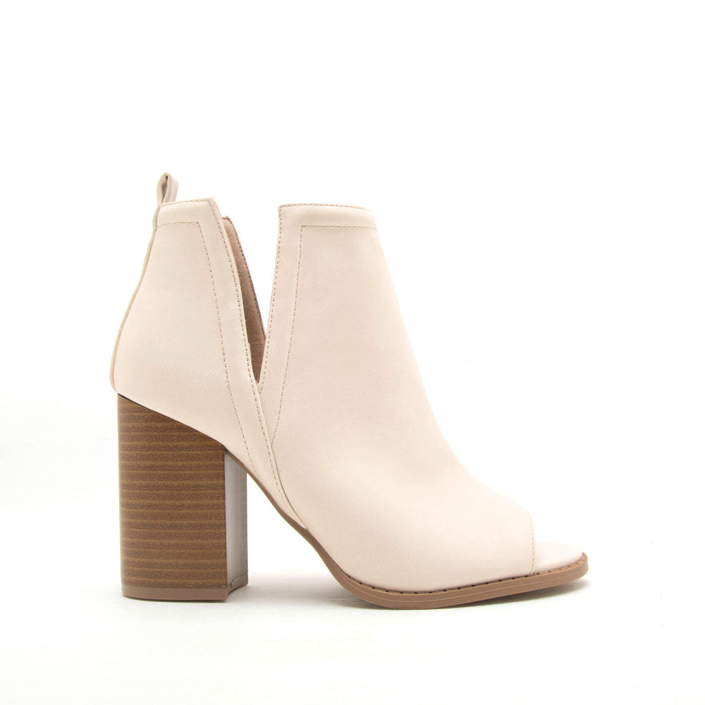 Brammer-66 Bone Peep Toe Booties