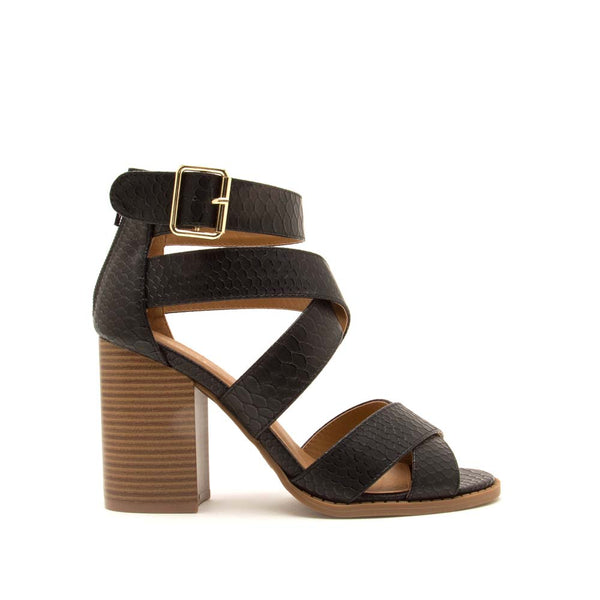 Brammer-71 Black Snake Strappy Sandals